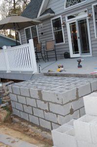 Cinder Block Construction Of Outdoor Fireplace