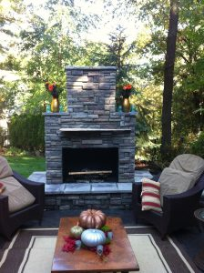 Picture of DIY outdoor fireplace built using a Backyard Flare construction plan.