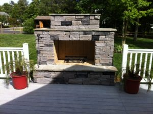 DIY Outdoor fireplace built by homeowner