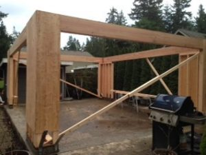 Wood framing of patio cover