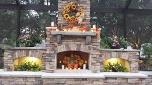 faux veneer outdoor fireplace
