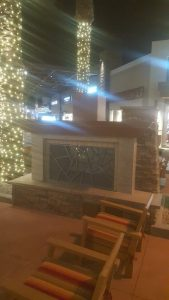 Shopping center outdoor fireplace