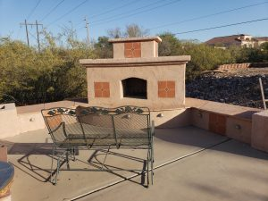 DIY Outdoor fireplace in Tucson.