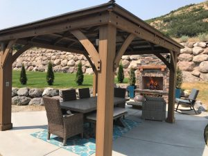 Utah outdoor fireplace diy pergola