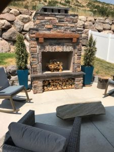 outdoor fireplace diy wood mantel storage