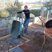 wheelbarrow used to dump concrete slab rebar