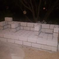 cinder block fireplace mortar DIY outdoor fireplace