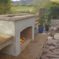 diy outdoor gas fireplace with flagstone and stucco golf course arizona