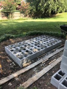 cinderblock concrete slab backyard grass diy outdoor fireplace
