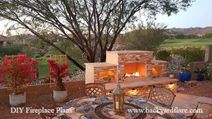 diy outdoor gas fireplace stacked stone golf course arizona