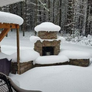 Douglas DIY outdoor fireplace snow pine patio backyard