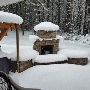 Douglas DIY outdoor fireplace snow pine patio backyard