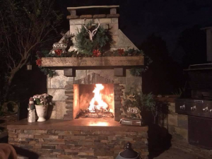 Pima DIY outdoor fireplace fire christmas decorate wreath vase