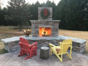 Douglas DIY outdoor fireplace fire Adirondack log wreath patio backyard