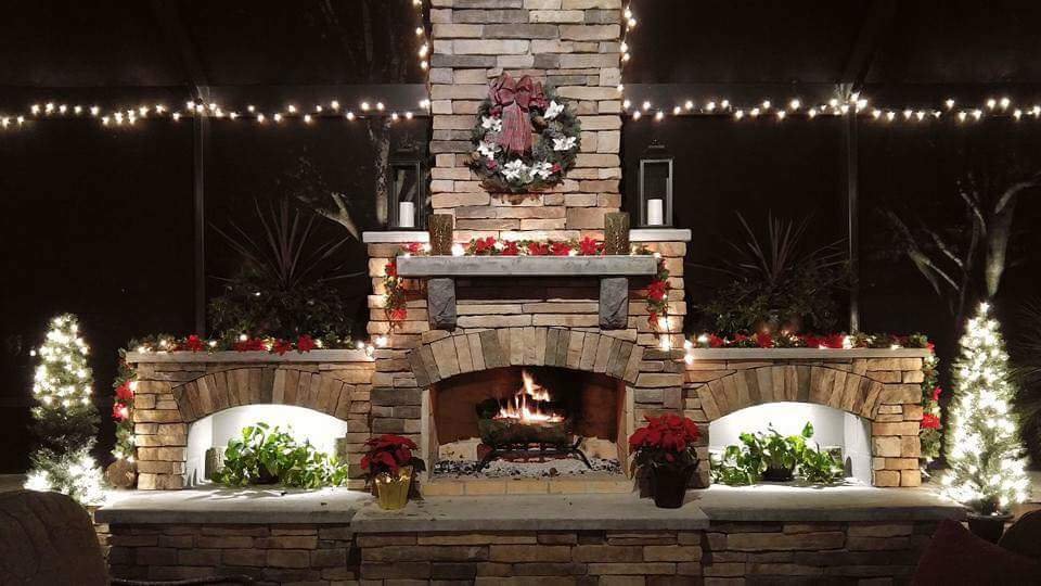 DIY outdoor fireplace fire wreath christmas light flower vase candle