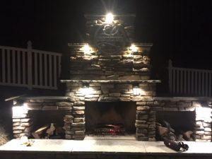 Outdoor fireplace lighting fire LED veneer