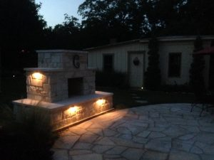 Outdoor fireplace lighting fire LED veneer