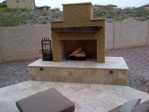DIY Pima II Outdoor Fireplace with Stucco Mantel Firewood l