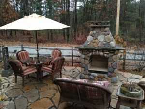 DIY stone outdoor fireplace