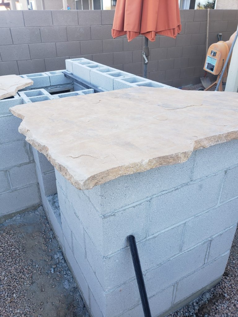 flagstone cinderblock outdoor kitchen outdoor bar